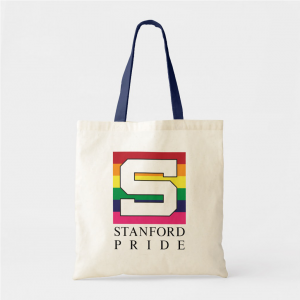 A canvas tote bag with a Stanford Pride logo and blue straps