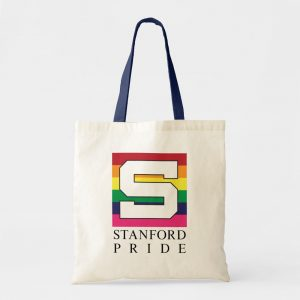 Natural cotton tote bag with Stanford Pride logo and blue handles