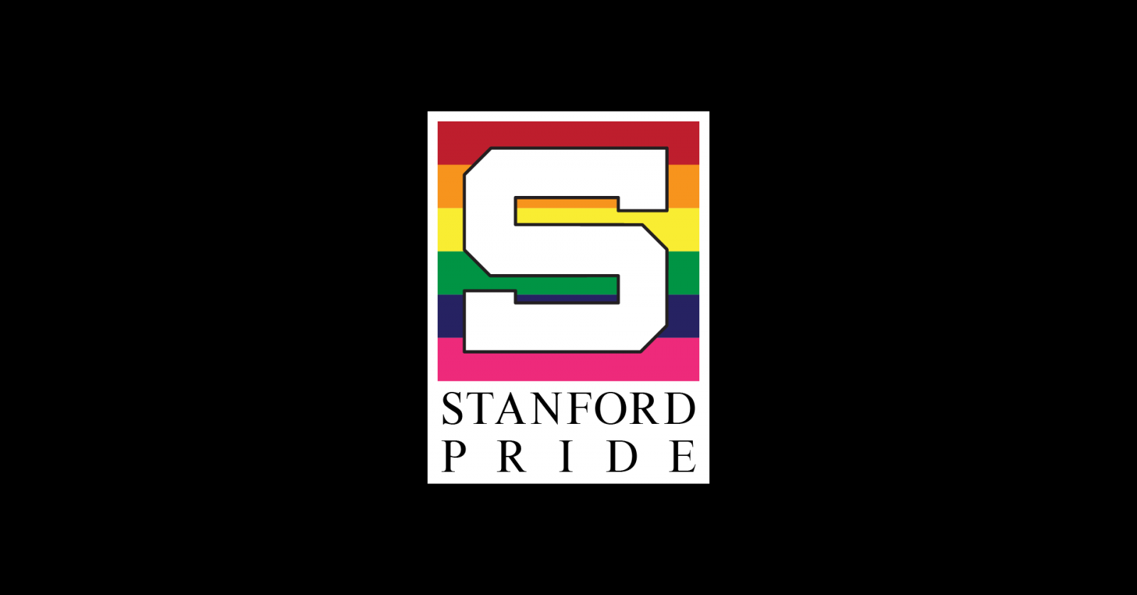 Stanford Pride's rainbow logo against a black background